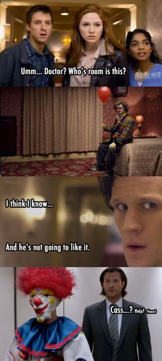 Supernatural / Doctor Who - Sam and his fear of clowns.