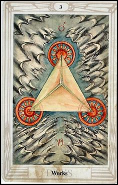 """Aleister Crowley Thoth Tarot ~ """"There are archetypes that appear as triad quaternary repression of an item. This is the case of the Trinity. For centuries there has been a fourfold psychological need of the Holy. Aleister Crowley Tarot, Trinidad, Cosmos, Vladimir Kush, Tarot Card Meanings, Pentacle, Celestial, Tarot Decks, Archetypes"""