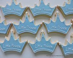 Baby Boy Little Prince or Baby Girl Princess Decorated Crown Sugar Cookies ( Crown Cookies, Sugar Cookies, Baby Boy Cakes, Cakes For Boys, Baby Boy Shower, Baby Showers, Baby Girl Princess, Baby Shower Cookies, The Little Prince