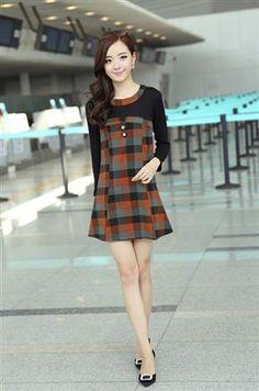 Korean Fashion Slim Plaid Hit Color Dress