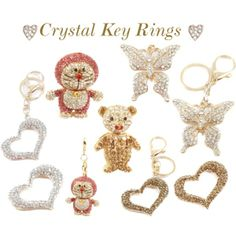 """""""Crystal Key Rings"""" by designerdesirables on Polyvore"""