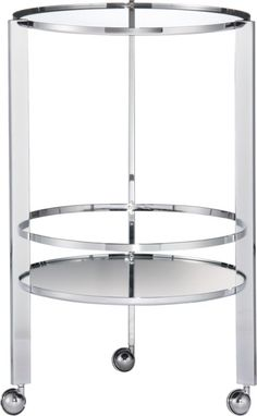 I love that bar carts are back.. Fond of this CB2 one. :)  ernest chrome bar cart in view all new | CB2