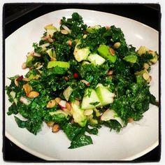 Holiday Kale Salad - kale, sea salt, green apple, red onion, avocado, pumpkin seeds. Dressing: 4T raw honey, 1 lemon, juiced.