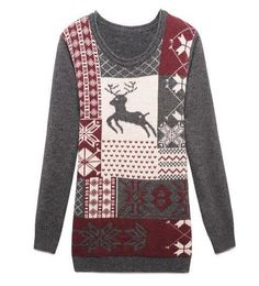 Cartoon Jacquard Long Sleeves Dark-gray Sweater