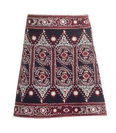 Sea Embroidered A-Line Skirt