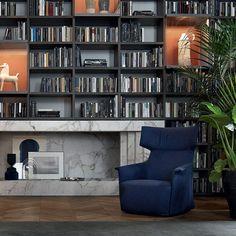 Contemporary armchair / fabric / leather / wing SANTA MONICA Poliform