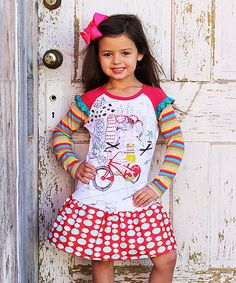 Take a look at this White & Red Bike Rider Dress - Toddler & Girls on zulily today!