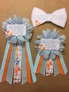 Blue orange Woodland Animals Fox Baby Boy Shower Pin Mommy To
