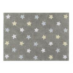 Alfombra Estrella Tricolor Gris-Azul #Decoracion #Habitacion #Infantil