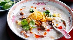 Salted fish and peanut congee   This porridge-like dish of rice is popular in many Asian countries for breakfast and for dinner. Congee can be served plain as a side dish, or, as we've done here, served with meat to make a more substantial meal.