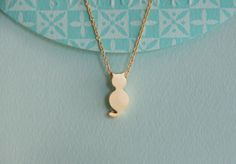 tiny cat necklace cute kitten necklace gold by bluegrassloft, $23.00
