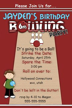 Customized Printable Boys Or Girls Bowling Party Birthday Invitation Bowlium Lanes