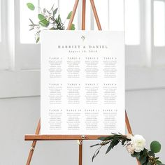 This wedding seating chart printable is a template featuring a sweet and simple leaf design which is color editable to match your theme. Two sizes are included - 18x24 (for up to 12 tables) and 24x36 (for up to 20 tables). It is available by INSTANT DOWNLOAD and is editable in