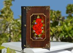 Journal, notebook, floral journal, flower theme, wood cover journal, vintage journal, vintage diary, hand painted flowers by Hirotechnion on Etsy Small Journal, Blank Journal, Journal Notebook, Wedding Gifts For Couples, Personalized Wedding Gifts, Etsy Handmade, Handmade Items, Vintage Diary, Bronze Nails