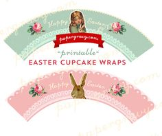 Printable vintage style Easter Cupcake Wrappers by papergravystore, $5.00