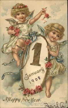 Buon Anno Bonne Annee Prosit Neujahr Happy New Year Angel Little Girl Vintage Happy New Year, Happy New Year Cards, New Year Greetings, Christmas Greetings, Vintage Greeting Cards, Vintage Christmas Cards, Christmas Art, Mary Christmas, Vintage Pictures