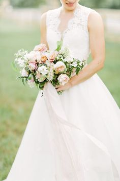 Whimsical lace dress and peony bouquet   Mustard Seed Photography