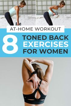 The 8 best back exercises for women! This at home workout uses a set of dumbbells to strengthen the largest muscle in your upper body, your back! Each exercise strengthens and tones the entire back…Plus Back Workout At Home, Back Workout Women, Good Back Workouts, Gym Workouts, At Home Workouts, Back Workout Exercises, Chest And Back Workout, Workout Tips, Dumbbell Back Workout