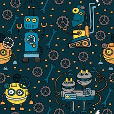 Látka úplet roboty na petrolejovej Magenta, Indiana, Pop Art, Textiles, Minion, Accessories, Funny Cars, Sunflowers, Dinosaurs