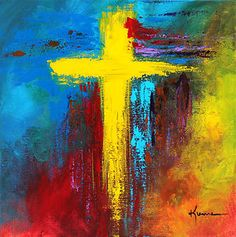Abstract Christian painted cross Art | Print Cross Christian Spiritual Modern Red Blue Painting Abstract Art ...