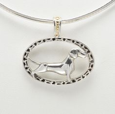 """Sterling Silver & 14Kt Gold Dachshund Pendant with 16"""" Omega Chain by Donna Pizarro fr her Animal Whimsey Collection of Fine Dog Jewelry by DonnaPizarroDesigns on Etsy"""