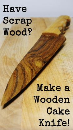 Need a perfect wedding or anniversary gift and have a little scrap wood sitting around? Make a wooden cake knife! It's an easy DIY woodworking project that you can make in a weekend. It's a perfect rustic statement piece for cutting cake or soft cheeses and it's food safe! Check out the full tutorial on Lazy Guy DIY! #WoodProjectsBench