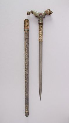Crutch Dagger (Zafar Takieh) with Sheath. Date: 18th–19th century. Culture: Indian. Medium: Steel, silver, gold, jade, ruby, turquoise, emerald.