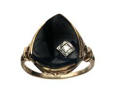 1930s Art Deco Onyx and Diamond Signet Ring, 10K Yellow Gold