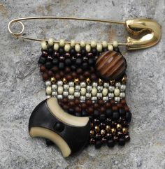 Free Form Beaded Brooch with Vintage Button  Black by Cheri C Meyer, $26.00