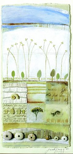 Sarah Lugg, 2000 From Book: Paper Quilting, by Bridget Hoff, Publ: Sterling/Chapelle, 2002 Mixed Media Collage, Collage Art, Collages, Paper Quilt, Textile Fiber Art, Landscape Quilts, Inspirational Artwork, Art Pages, Artist At Work