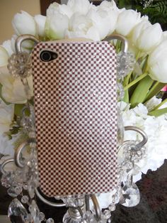 Brown and White checkered with silver by GlitzGlamourandBling, $12.00