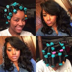 Perms rods on stretched hair