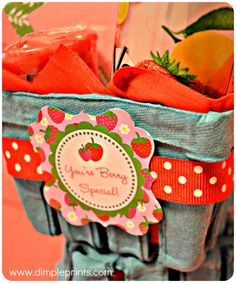 You're Berry Special Printable Tags Gift using quart size strawberry carton and all things strawberry. Also a free printable tag, great gift idea for Mother's Day or end of school year for the teacher.