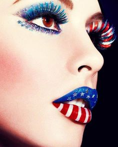 Red, White  Blue makeup | ★ colors of freedom ★)