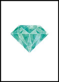 Juliste vihreällä timantilla