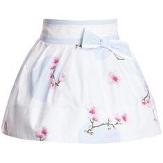 Simonetta White Floral Cotton Skirt at Childrensalon.com
