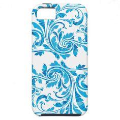Blue Floral Damask Pattern