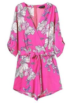 Hot Pink Floral-Print Surplice Romper – Lookbook Store