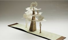 Tree by Hilary Judd. The pop-up tree is held at the Manchester Metroplolitan University Special Collections. Dimensions when open are 900mm x 19 mm x 450 mm.