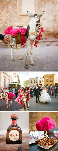 It is Mexican tradition to walk from the church ceremony to the reception site accompanied by your guests and a band playing behind you.  Definitely a site to see!  Aaron Delesie Photographer - Zacatecas, Mexico