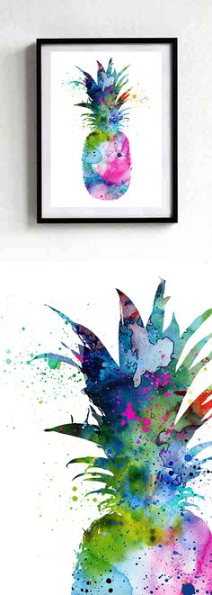 Pineapple Watercolor Print, Pineapple Decor, Watercolor Art, Botanical Watercolor Print, Kitchen Decor Poster, Watercolor Painting