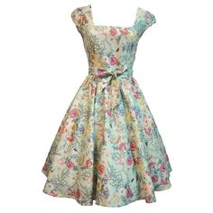 Lobe everything about this!!! Vintage Pale Blue Floral Swing Dress ($48) ❤ liked on Polyvore