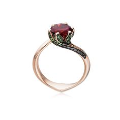Beautiful Jewelry Center Prong Round Ruby Lotus Ring in Rose Gold - Shop for Lotus Ring, Cute Jewelry, Jewelry Accessories, Gold Jewelry, Jewelry Box, Jewelry Stores, Jewelry Center, Jewlery, Jewelry Holder