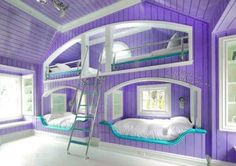 I would add a desk on one of the bottom beds and some cusions on one of the top…