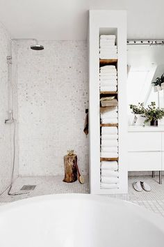 Bathroom. Tiles. Shower.