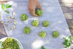 Herb and Pistachio falafel. YUM http://www.greenkitchenstories.com/herb-pistachio-falafel/