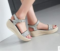 2015 women new fashion spring summer preppy style casual platform swing shoes open toe paillette wedges PU trend sandals