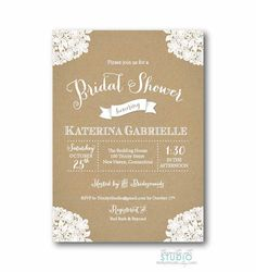 Vintage Lace Rustic Bridal Shower Invitation by TrinityStStudio