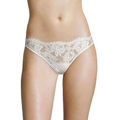 La Perla Lace Story Thong ($270) ❤ liked on Polyvore featuring intimates, panties, apparel & accessories, lace lingerie, lacy thong, white lingerie, la perla lingerie and white thong
