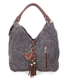 Another great find on #zulily! Dark Gray Swirl-Embossed Leather Hobo #zulilyfinds